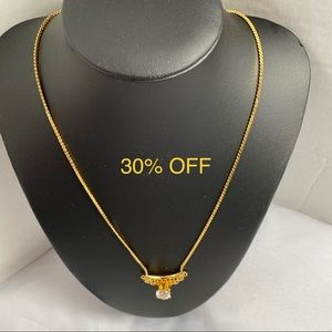 Jewelry - VINTAGE GOLD PLATED NECKLACE CZ PENDANT
